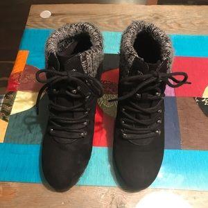 Bongo Black Suede Sweater Top Booties Wedge Heel 6